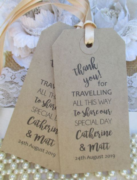 10 Calligraphy Thank You for Travelling Personalized Tag